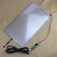 """5pcs/Lot Win 7 PC 4 wire Resistive Industry Touch Screen Panel Digitizer Glass +USB Controller 15.6"""" Widescreen 364*216mm"""