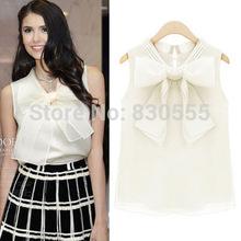 Summer new clothe organza big bow coat leisure chiffon shirt(China (Mainland))