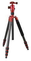 Red color camera tripod CC-258+QF-0T with foldable and monopod function with reversible centre column