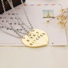 new fashion heart 3 parts and 2 parts pendant necklace best bitches Best Friend necklace 2colour necklaces & pendants