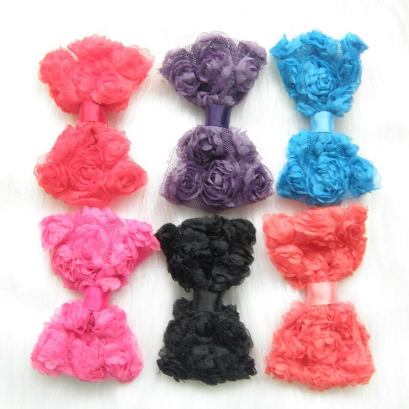 New 2015 12X Baby Girl Mix Color Rose Flower Chiffon Bowknot Hair Bows Clip Headband(China (Mainland))