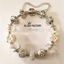 Free shipping 925 Daisies Murano Glass Crystal European Charm Beads Fits Pandora Style Bracelets