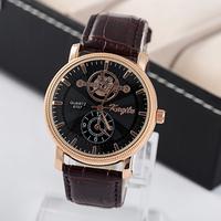 watch men brand 2015 quartz watch men's casual watch wristwatches leather strap watches HP038
