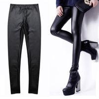 New Hot Sale 2015 Sexy Women Stretchy Faux Leather Plush Fur Lined Leggings Pants Capris Black Color 3 Size #XJ