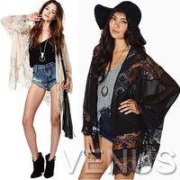 2015 New Arrival Lolita  LACE Stitching Tropical Chiffon Woman Clothes Kimono Cardigan Blusas Femininas Women Blouse Tops