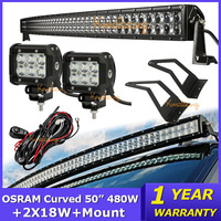 "OSRAM 50"" 480W Curved LED Light Bar Combo Offroad Light Bar+CREE 2x18W Flood Led Work Light+Mount Brackets+Wire Relay For Ford"