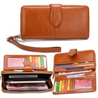 Genuine Leather Women Wallets Zipper Clutch Wallets Oil Wax Cowhide Long Wallet Leather Pure with Wristlet HB-246
