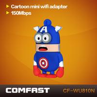 New arrivals Free shipping  cartoon mini  wifi adapter Comfast  CF-WU810N-CA  wifi chipset RTL 8188EUS wireless wifi dongle