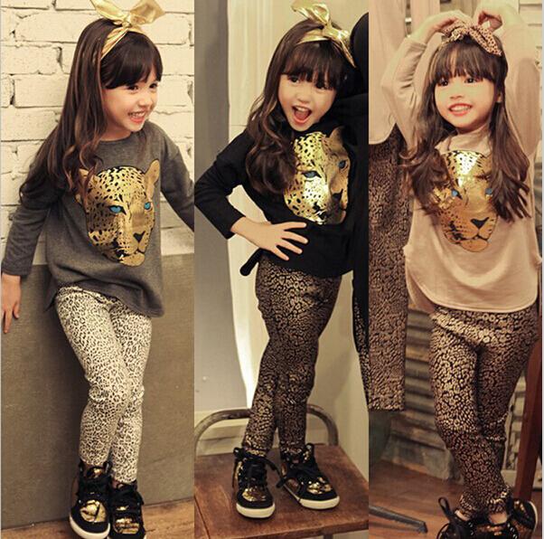 Leopardo traje impressão conjunto de roupas infantis meninas primavera outono de duas peças dos desenhos animados Top blusa + cobra Legging Pant moda set(China (Mainland))