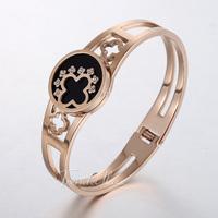Cut-out Pattern w/ Rhinestones Flower Charm Womens Ladies Girls Rose Gold Tone Stainless Steel Cuff Bangle Bracelet Gift KGM31