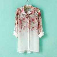Fashion New Women Shirts Blouses Floral Shirt Woman Tops Chiffon Blusas Femininas Summer Auntumn 2015 Blouse Casual Clothing