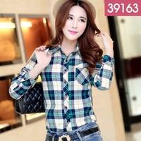 2015 spring thickening shirt sanded plaid shirt female long-sleeve casual basic women's top shirt