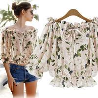 2015 New Ladies'  print slash neck  shirt  chiffon casual blouse brand quality tops C211