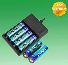 6pcs  KENTLI 1.5v AA PH5 2800mWh PLIB Rechargeable Li-ion Li-polymer Lithium battery + 4 slots USB Charger CHU4(China (Mainland))