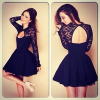 Summer Hot Sexy Openwork Lace Backless Black Party Short Dress