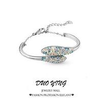 2015 Rock Long New Style Girl Gift Round Diamante Zinc Alloy Crystal Silver Bracelets Bangles For Women Pulseras pulseiras