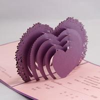 Indian Design Laser Cut Purple Art Paper 3D Pop Up Wedding Invitation Card 2015 Free Printing 50pcs a Set
