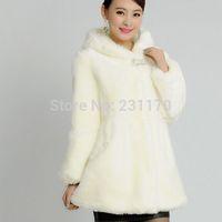 2014 Autumn Winter Korean Style Women Fur & Faux Fur Coat  Mink Coats Female Hooded Long Jacket Overcoat Outwear Plus Size L-3XL