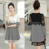 2015 New Fashion Spring Plus Size Clothes for Pregnant Women Lace Paid Cotton Patchwork Maternity Dress vestidos roupa gestante