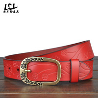 Brand Designer women's pin belts genuine leather small vintage casual  buckle  red/Black/white/Brown strap free shipping MB