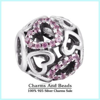 2015 новый стерлингового серебра 925 ажурные любовь в форме сердца шарм проложить ...