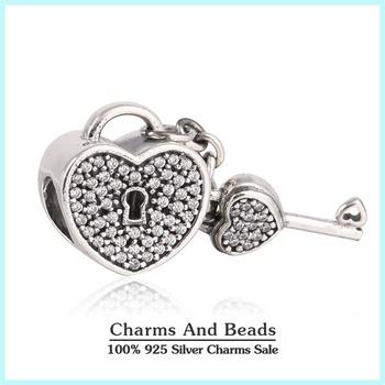 2015 новый аутентичные стерлингового серебра 925 блокировка и ключ в форме сердца ...