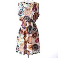 2015 new  spring summer  dress Women casual Bohemian floral leopard sleeveless vest printed beach chiffon dress