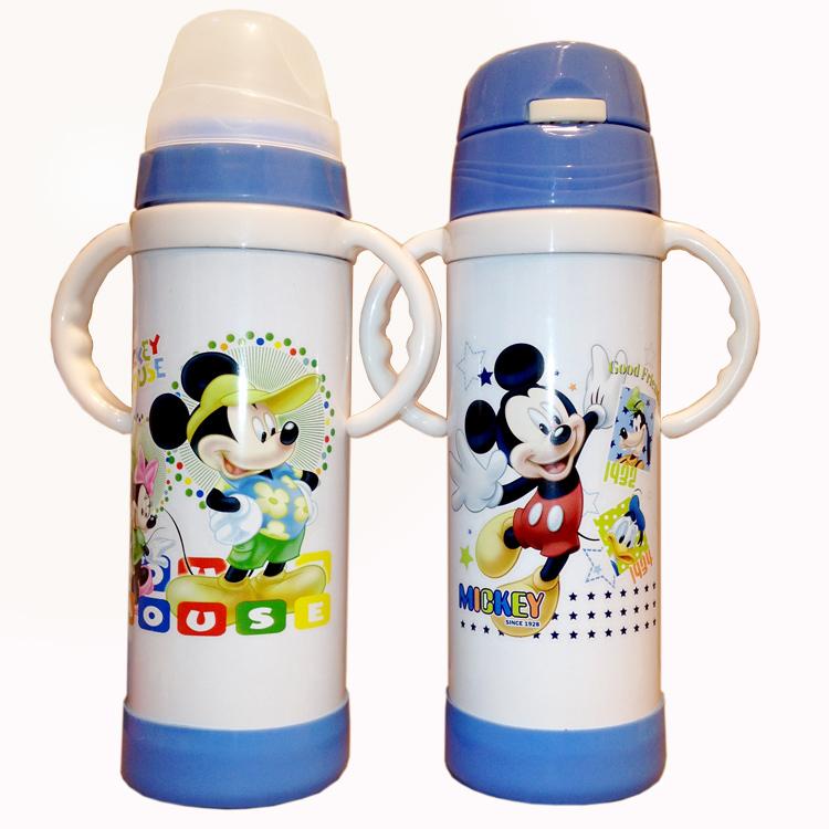 Детские из нержавеющей стали с двойным слоем бутылка двойной изоляции бутылка кормление из бутылочки широкий рот с ручкой соломы бутылки