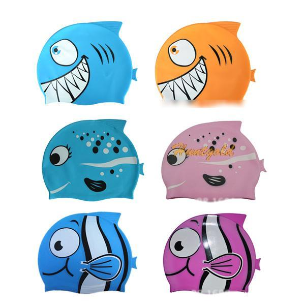 Fish Cartoon Print Silicone Rubber Child Beaching Swimming Bathing Head Hat Cap(China (Mainland))