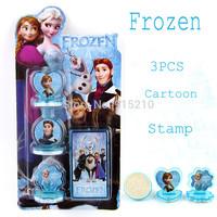 Cartoon Stamper Elsa Anna & Princess Hans action figures Style,educational DIY stamp drawing set baby toy Wholesale 24set/lot