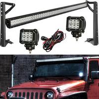 51 Inch Offroad LED Light Bar Combo 300W + 18W CREE 4'' Spot Beam Driving Work Light + Mount Brackets For Jeep Wrangler JK 07~15