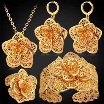 Роскошные флора ожерелье серьги браслет комплект прокладок для принцессы 18 К позолоченные ...