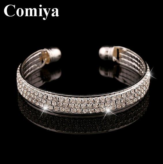 Fashion Elegant Women Gold silver plated Bangle Wristband Bracelet Crystal open arm Cuff  Lady Gift Bracelets & Bangles jewelry(China (Mainland))