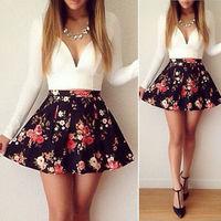 Lady Fashion White / Black Sexy V-neck Floral Stitching High-waist Short Dress