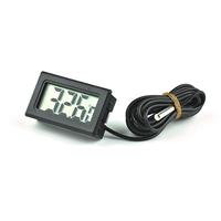Indoor Outdoor Black LCD Digital Thermometer Temperature Meter + Probe Sense Cable 2M for Aquarium Freezer Fish Tank