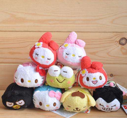 New Arrival Tsum TSUM Sanrio Hello Kitty My Melody Badtzmaru Plush Mini Toys for Mobile Phone Screen Wiper Hanging Decorations(China (Mainland))