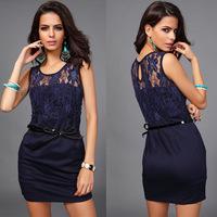 Sexy Black Lace Dress Ladies Dresses Office Summer Short Elegant Dress For Girl Clothes O-Neck Pachwork Women Sheath Dress WD069