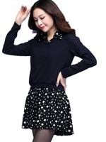 Large Size Women's Brand Spring Jacquard Wool Patchwork Floral Faux Two Piece Dress Woman xl 2xl 3xl 4xl Free Shipping QYN3676