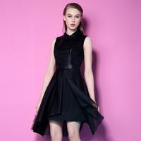2015 New Arrival PU leather Black Dress Rockabilly Sleeveless Work Office Sexy Lace Party Women Dresses Vestidos  LIREN B00405