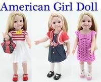 18 Inch Full Vinyl Princess doll American 45cm Girl Doll Classic Baby Toys For Girls pink dress cute gold hair