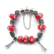 New 2015 Europe Fashion Glass Charm Beads Fits Pandora Style Bracelets For women Adjustable DIY Bracelet