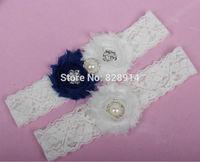 Vintage Lace Trim White and Navy Blue Color Shabby Flower Wedding Garter for Bridal Garter With Blue Shabby Flower Handmade