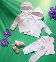 Wholesale Spring Girl Clothing Sets Pretty Pink Jacket Coat+Short Sleeve Tee Shirt+Long Pants Children Fashion Cloths