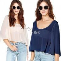 New 2015 Casual Chiffon Blouse Blusas Femininas Summer Backless Tops Loose Fashion Sexy Crop Shirts Size M-XL b9 CB036565