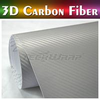 German Duty Free Teckwrap 2014 new product 5*65ft air release carbon fiber good stretch 3d Premium carbon fiber vinyl Silver