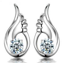 High quality earring crystal Angel Wings Popular cz Amethyst Earrings Women's Fashion jewlery boucles d'oreille women