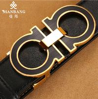 Genuine leather belt men Famous designer brands High quality Cowskin Black straps free shipping MBP0259