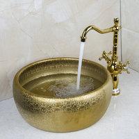 Double Handle Faucet Round Paint Golden Bowl Sinks / Vessel Basins Washbasin Ceramic Basin Sink & Faucet Tap Set 46049836