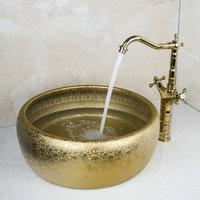 Luxy Round Paint Golden Bowl Sinks / Vessel Basins With Washbasin Ceramic Basin Sink & Polished Golden Faucet Tap Set 46048631K