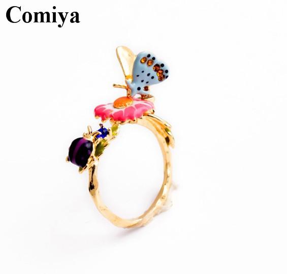 Borboleta inseto flor joaninha anéis simples para a mulher menina inlay liga elegante acessórios Multi-color lindo partido de ouro(China (Mainland))